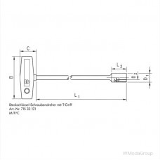 Ключ с внутренним шестигранником, с Т-образной рукояткой и магнитом 10 мм, удлиненный Wurth