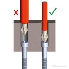 Отвертка диэлектрическая с профилем Phillips VDE PH2, ultra slim WURTH