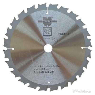 Пильный диск по дереву WURTH 165 х 1,8 / 1,6 х 16 мм 24 зуба 0610616024