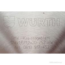 Пильный диск WURTH по металлу 174 х 1,6 / 1,2 х 20 мм 52 зуба 0610917452