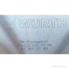 Пильный диск WURTH для резки цветных металлов 250 х 3,2 / 2,2 х 30 мм 80 зубов 0611025803