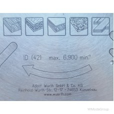 Универсальный пильный диск по дереву и цветным металлам WURTH 216 х 2,6 / 1,8 х 30 мм 48 зубов 0611621648