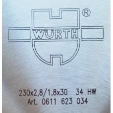 Универсальный пильный диск WURTH UNI-Top С переменными зубьями (AT) 235 x 2.8 / 1.8 x 30 мм 0611623034