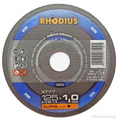 Круг отрезной экстра тонкий RHODIUS ALPHAline XT77 125x1,0x22 made in Germany
