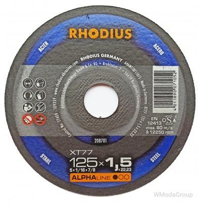 Круг отрезной экстра тонкий RHODIUS ALPHAline XT77 125x1,5x22 made in Germany