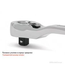 """Трещотка 3/8"""" с рычажным переключателем Реверсивная, с кнопкой для извлечения головок"""