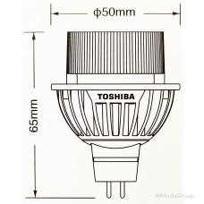 Светодиодная энергосберегающая лампа Toshiba E-core Gu5.3 9 Вт Mr16 Led 2700k, 12 Вольт, луч 35 градусов, домашний белый [энергетический класс A]