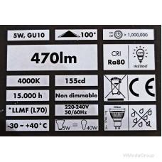 Светодиодная лампа WURTH 220 Вольт, 5W / PAR 16 / GU10 / 4000K