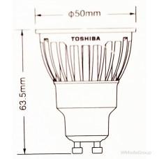 Светодиодная энергосберегающая лампа Toshiba E-core Gu10, 6,5 Вт, 220 Вольт ,светодиодный, 2700k, луч 35 градусов, домашний белый [Класс энергопотребления A]