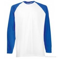 Мужская двухцветная футболка с длинными рукавами белый-cиний