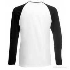 Мужская двухцветная футболка с длинными рукавами белый-черный
