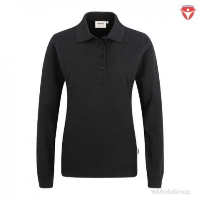 Hakro 215 женская рубашка-поло с длинным рукавом Mikralinar черная
