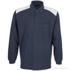 Комбинированная футболка-поло MODYF с длинным рукавом темно-синего/серого цвета