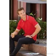 Мужское поло с полосками Premium красное