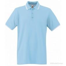 Мужское поло с полосками Premium небесно голубое