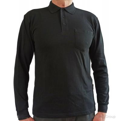 Рубашка-поло WURTH с длинным рукавом и накладным карманом черная