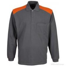 Рубашка-поло WURTH / MODYF с длинными рукавами серая с оранжевым