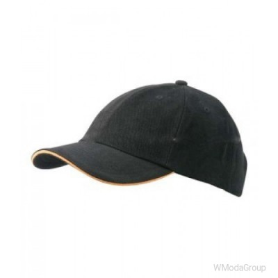 6-панельная сэндвич кепка Чёрный / Оранжевый
