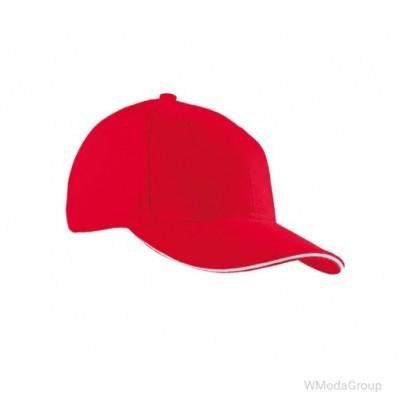 Бейсболка шестипанельная Красный / Белый