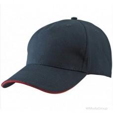 Бейсболка пятипанельная черный-красный