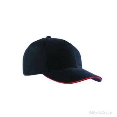 Бейсболка шестипанельная Чёрный / Красный
