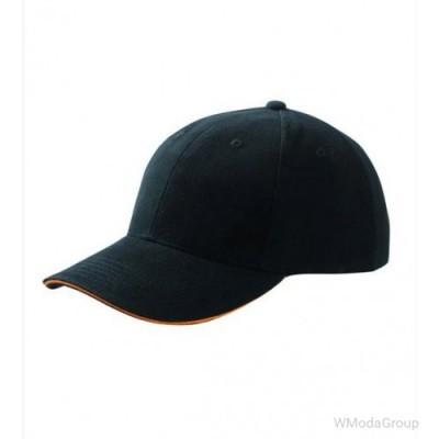 Бейсболка шестипанельная Чёрный / Оранжевый