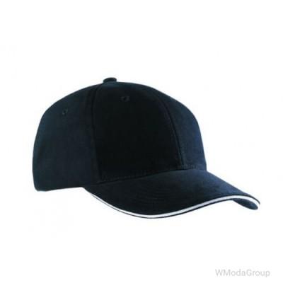 Бейсболка шестипанельная Чёрный / Светло-Серый