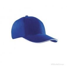 Бейсболка шестипанельная Синий / Белый