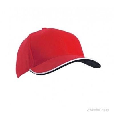 Двойная сэндвич-кепка с 6 панелями Красный /Белый / Черный
