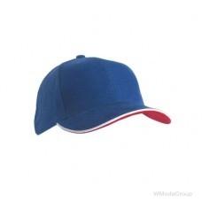 Двойная сэндвич-кепка с 6 панелями Синий /Белый / Красный