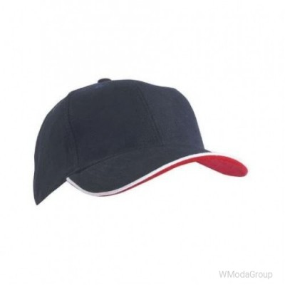 Двойная сэндвич-кепка с 6 панелями Темно-синий / Белый / Красный