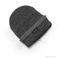 Теплая зимняя вязаная шапка + флис Vision Neo черный / серый