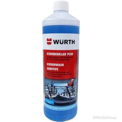 Зимний концентрат-очиститель WURTH для стекол PLUS 1 литр. Незамерзающая жидкость для систем очистки лобовых стекол (для бачка омывателя)